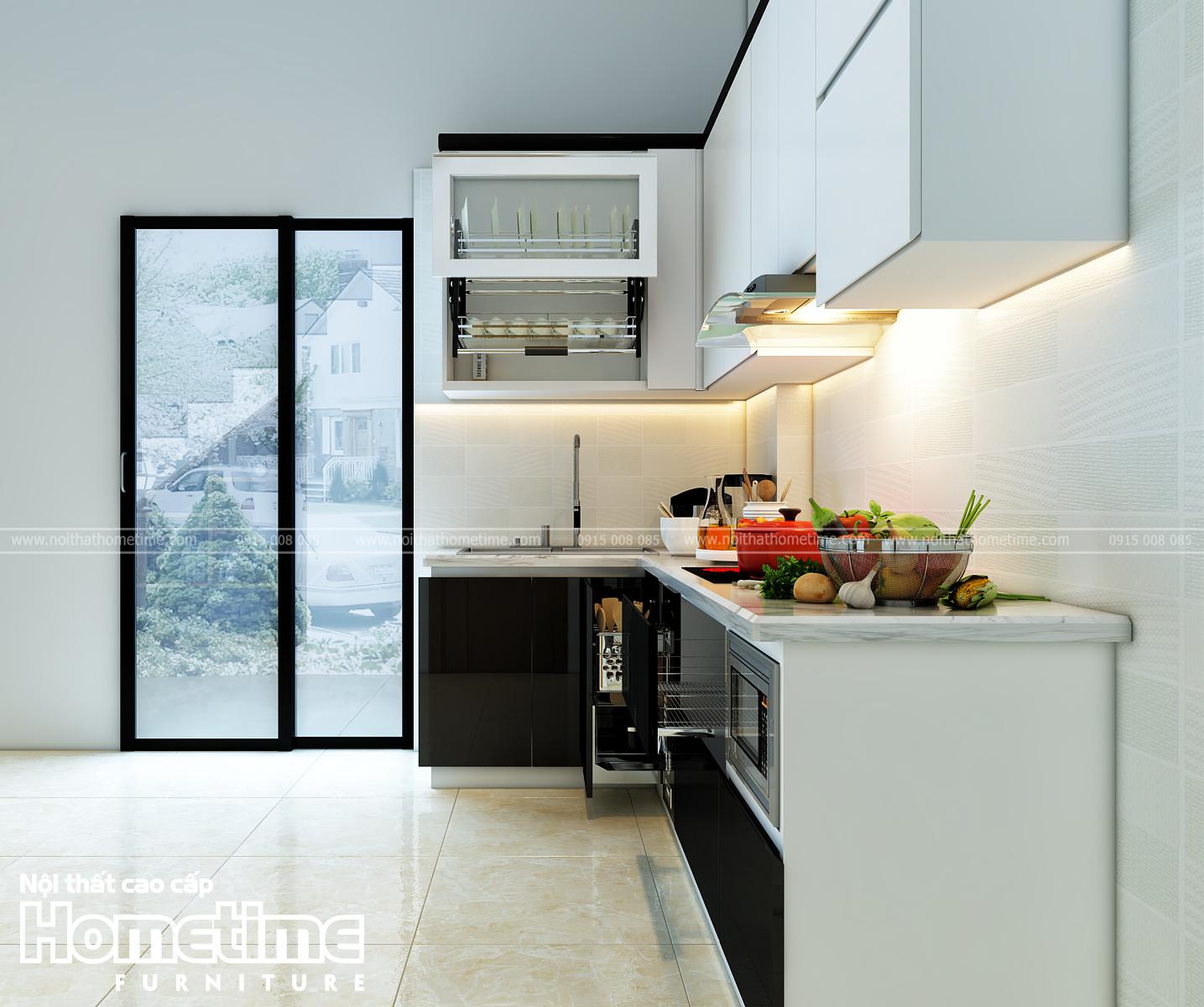 Hình ảnh góc nghiêng tủ bếp nhà cô Thêm