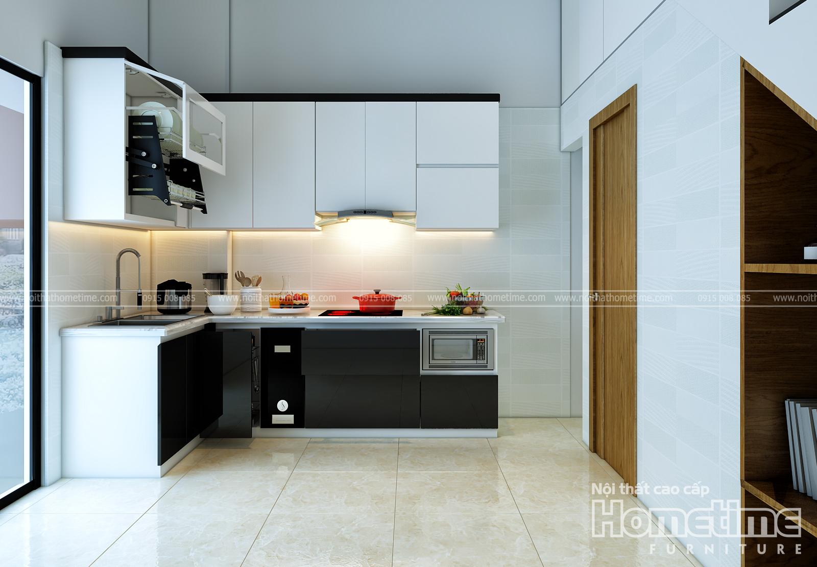 Hình ảnh tổng quan về tủ bếp sơn men nhà cô Thêm