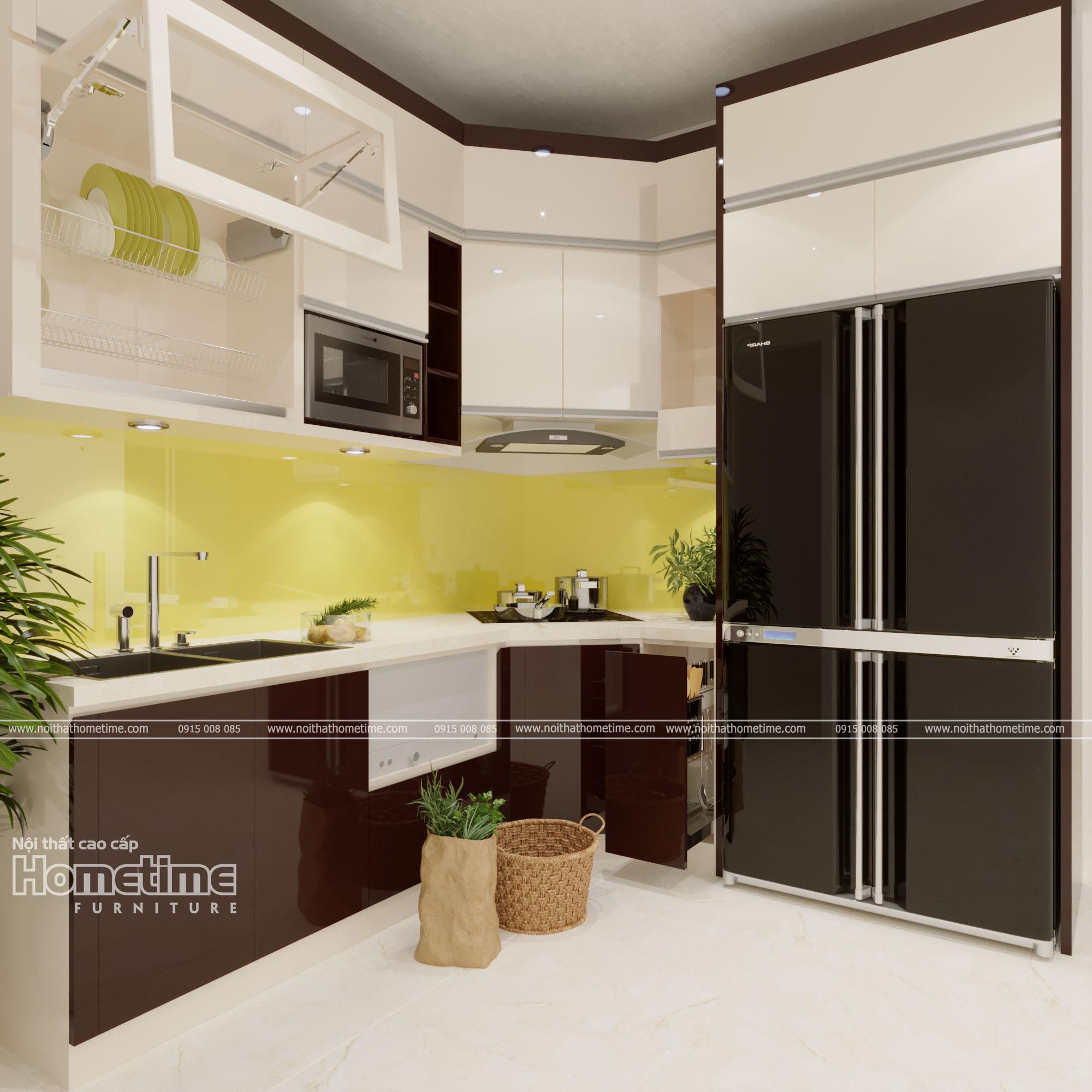 Hình ảnh tổng quan về tủ bếp nhựa sơn men