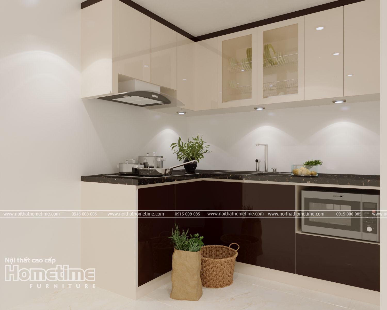Phòng bếp nổi với bật tủ bếp nhựa sơn men bóng