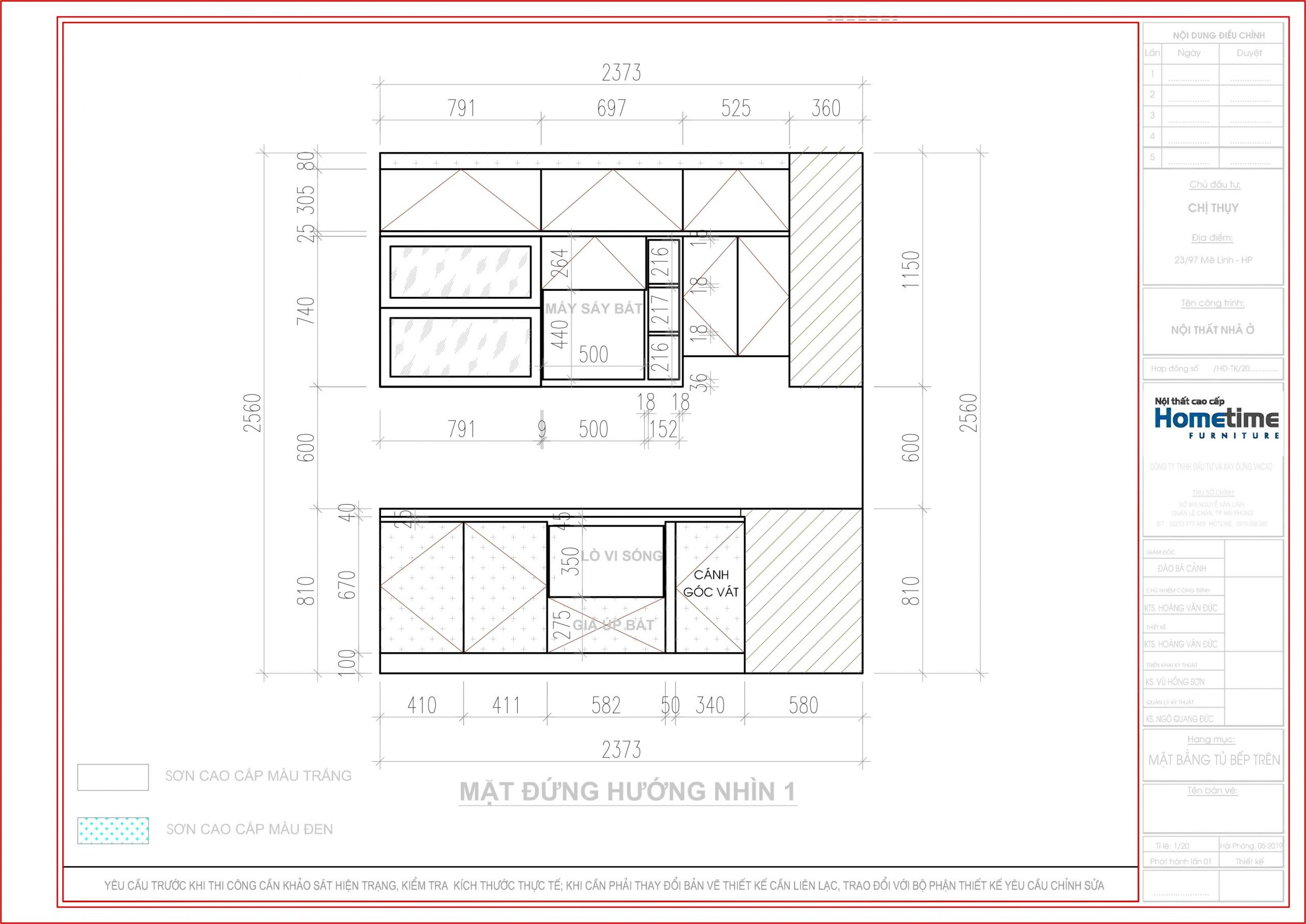 Hình ảnh tủ bếp theo hướng nhìn 1