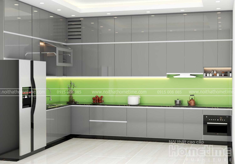 Hình ảnh tủ bếp kịch trần tông màu ghi