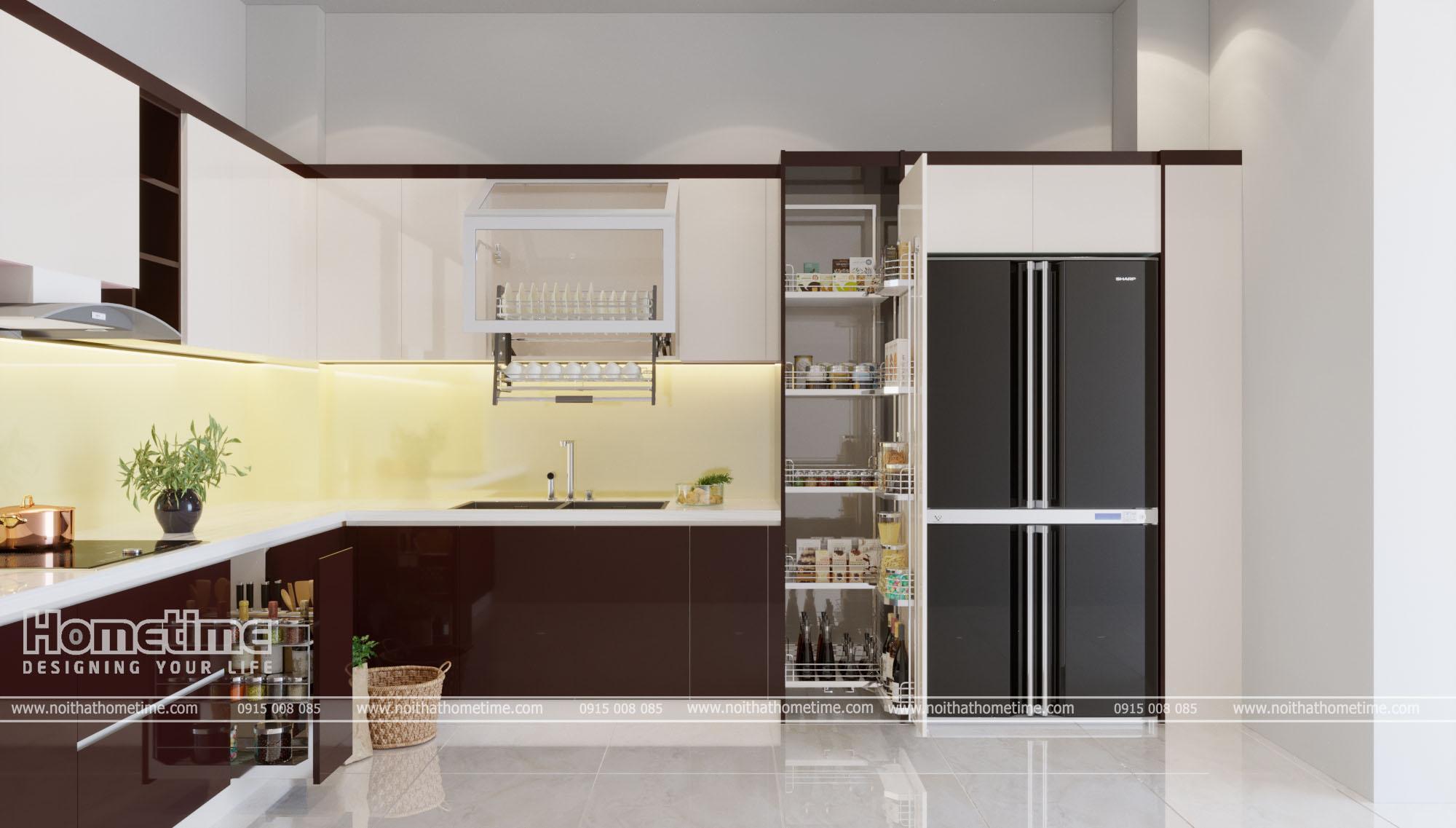 Không gian sang trọng với thiết kế tủ bếp hiện đại