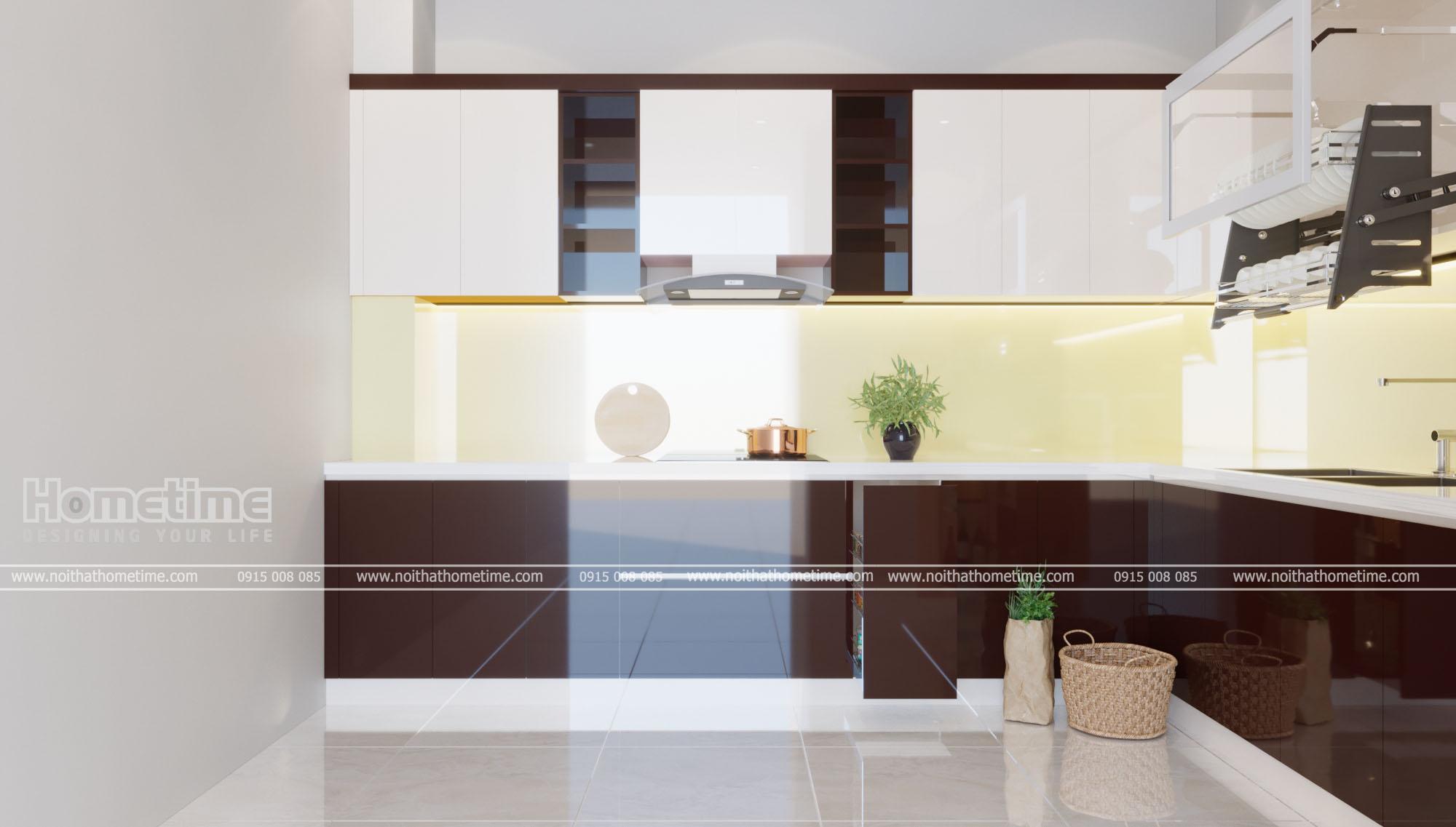 Không gian bếp bắt mắt bởi màu sắc hiện đại và sáng bóng