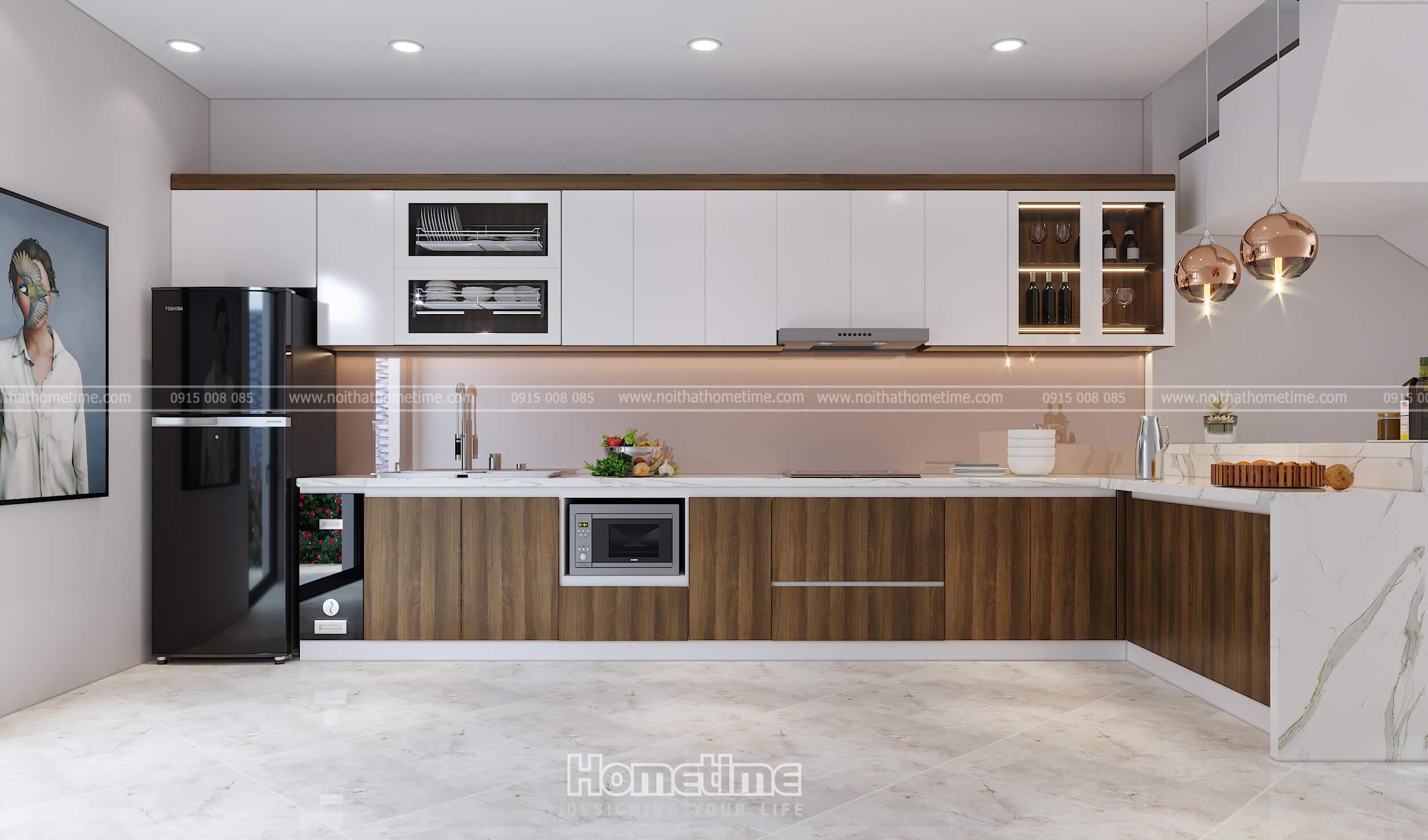 Thiết kế tủ bếp kịch trần nhà anh Việt Anh