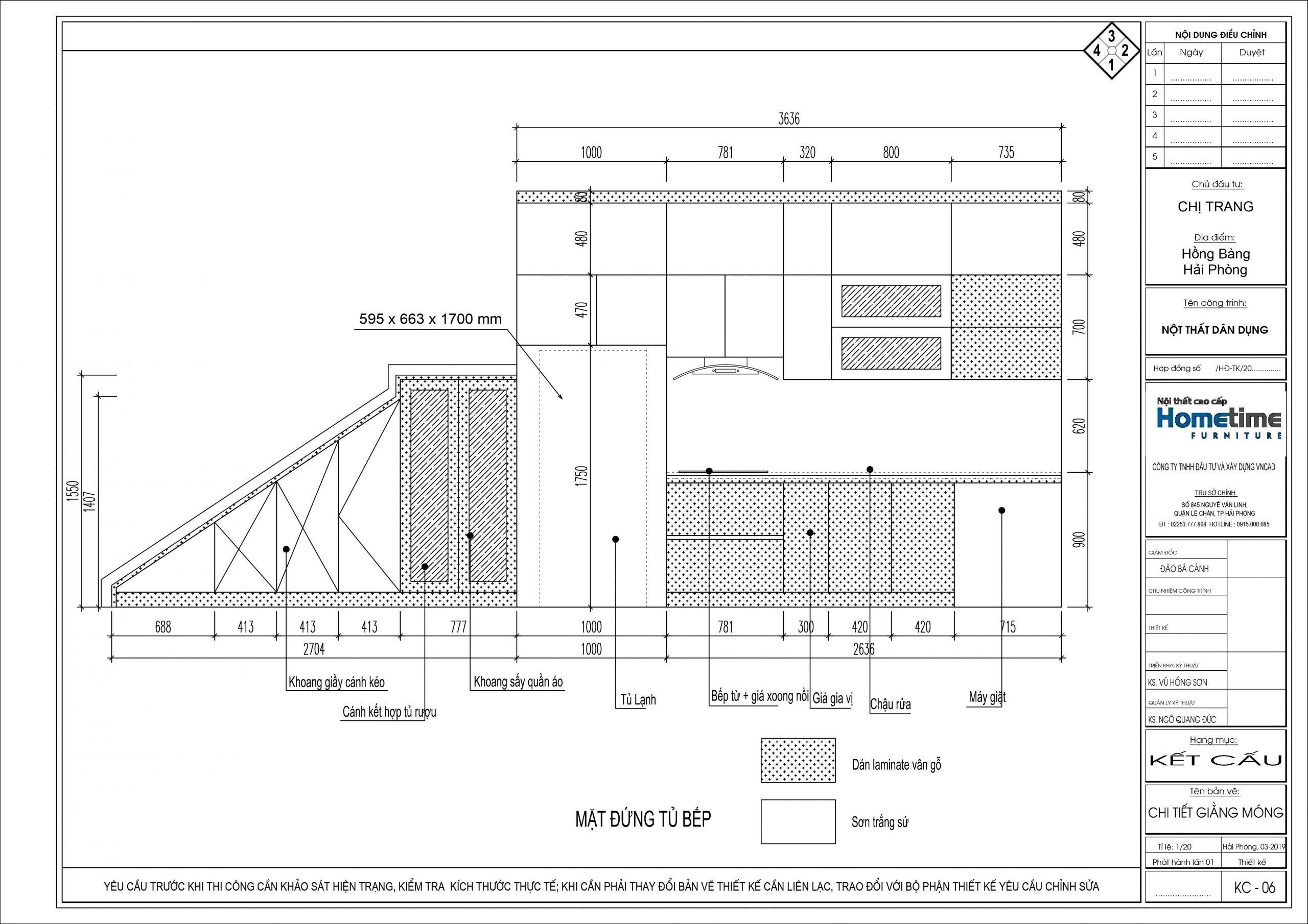 Thiết kế chi tiết nhìn theo mặt đứng của tủ bếp