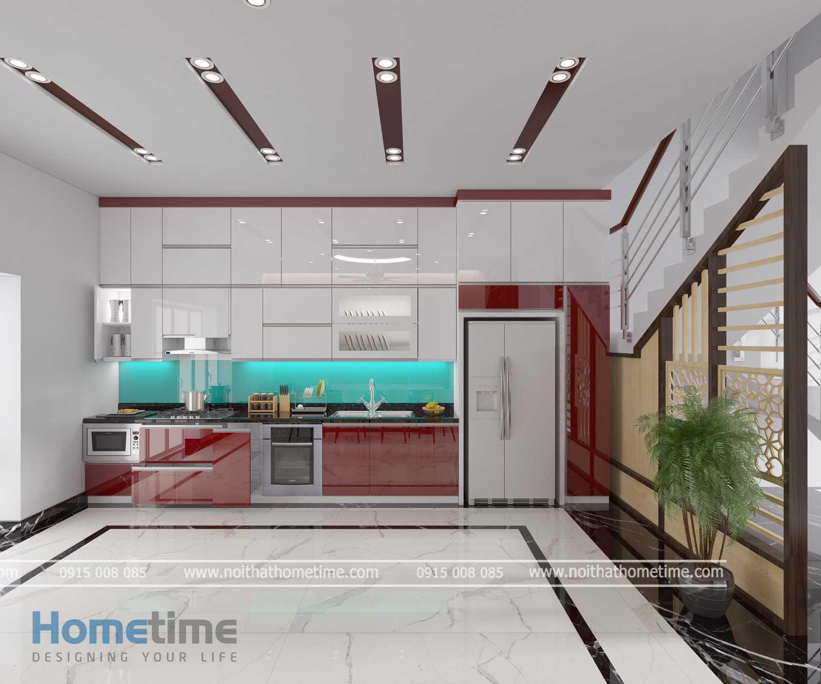 Tủ bếp phủ acrylic hiện đại tiện nghi nhà cô Thúy