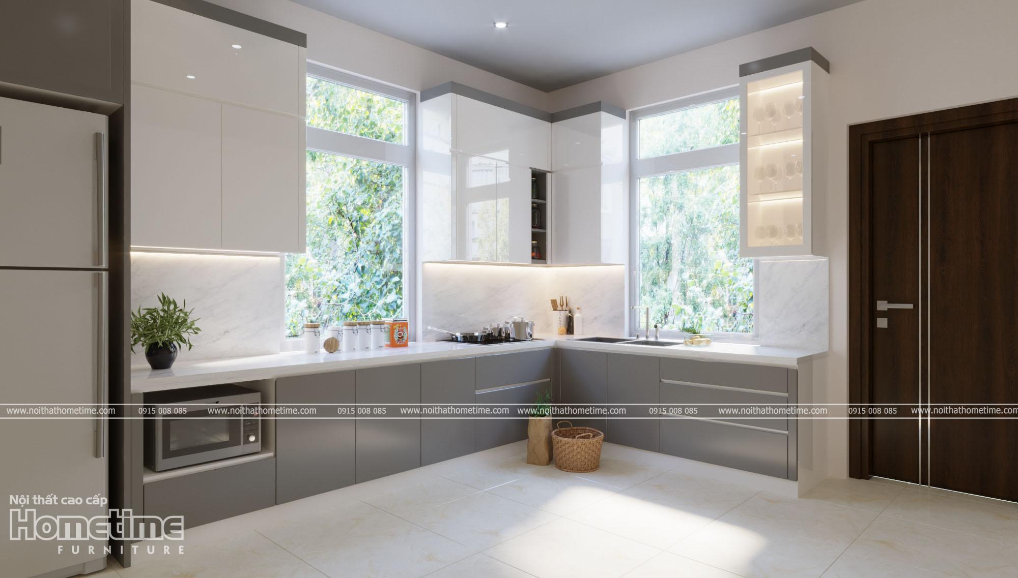Tủ bếp được thiết kế kiểu dáng chữ L hiện đại