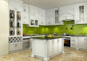 Tủ bếp tân cổ điển tiện nghi với thiết kế thông minh