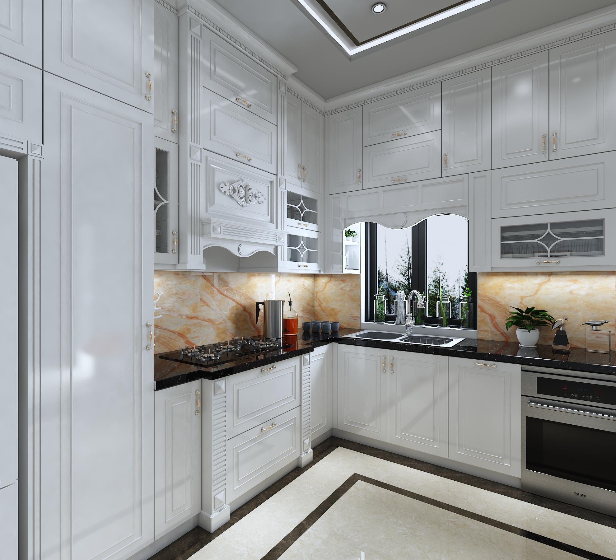 Hình ảnh góc nghiêng của tủ bếp nhà chị Linh Hoàng Huy