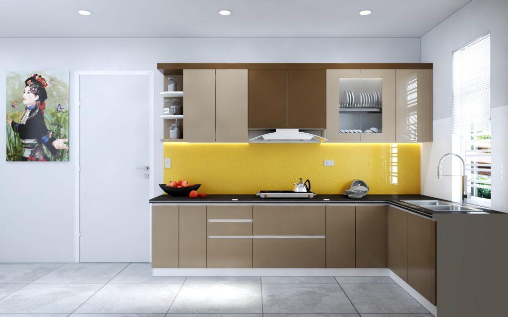 Tủ bếp nhựa sơn men cho không gian nhỏ xinh