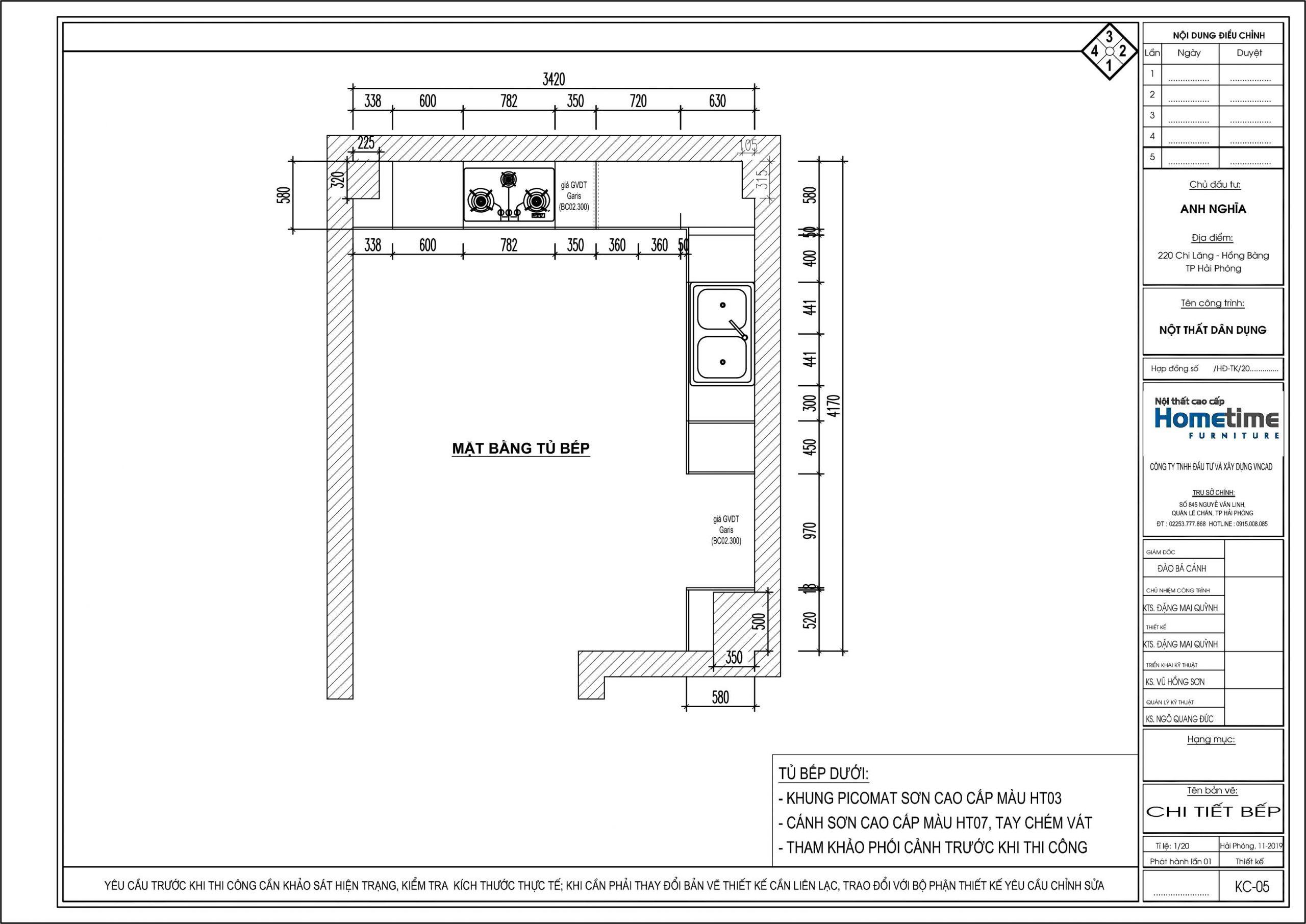 Hình ảnh bản thiết kế chi tiết toàn khu bếp nhà anh Nghĩa