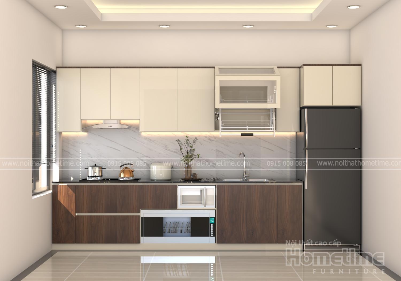 Tủ bếp nhựa sơn men trắng kết hợp phủ laminate vân gỗ thiết kế chữ I hiện đại, công năng tiện nghi