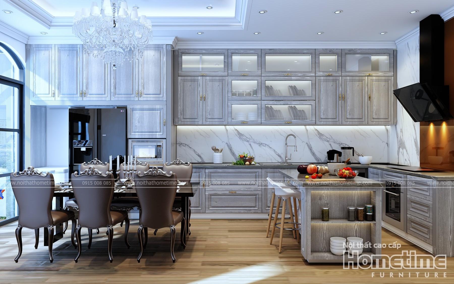 Thiết kế nội thất tủ bếp sang trọng hiện đại