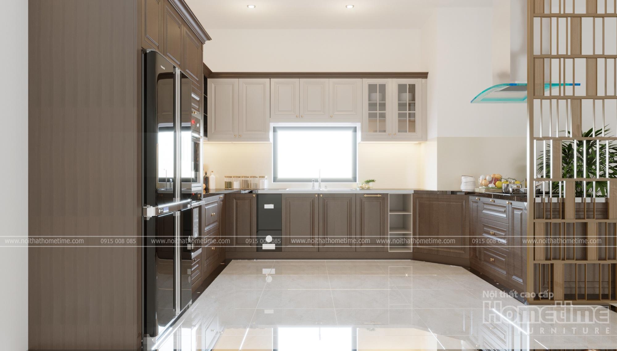 Tủ bếp với sự sắp xếp hợp lí, phù hợp với nhiều công năng