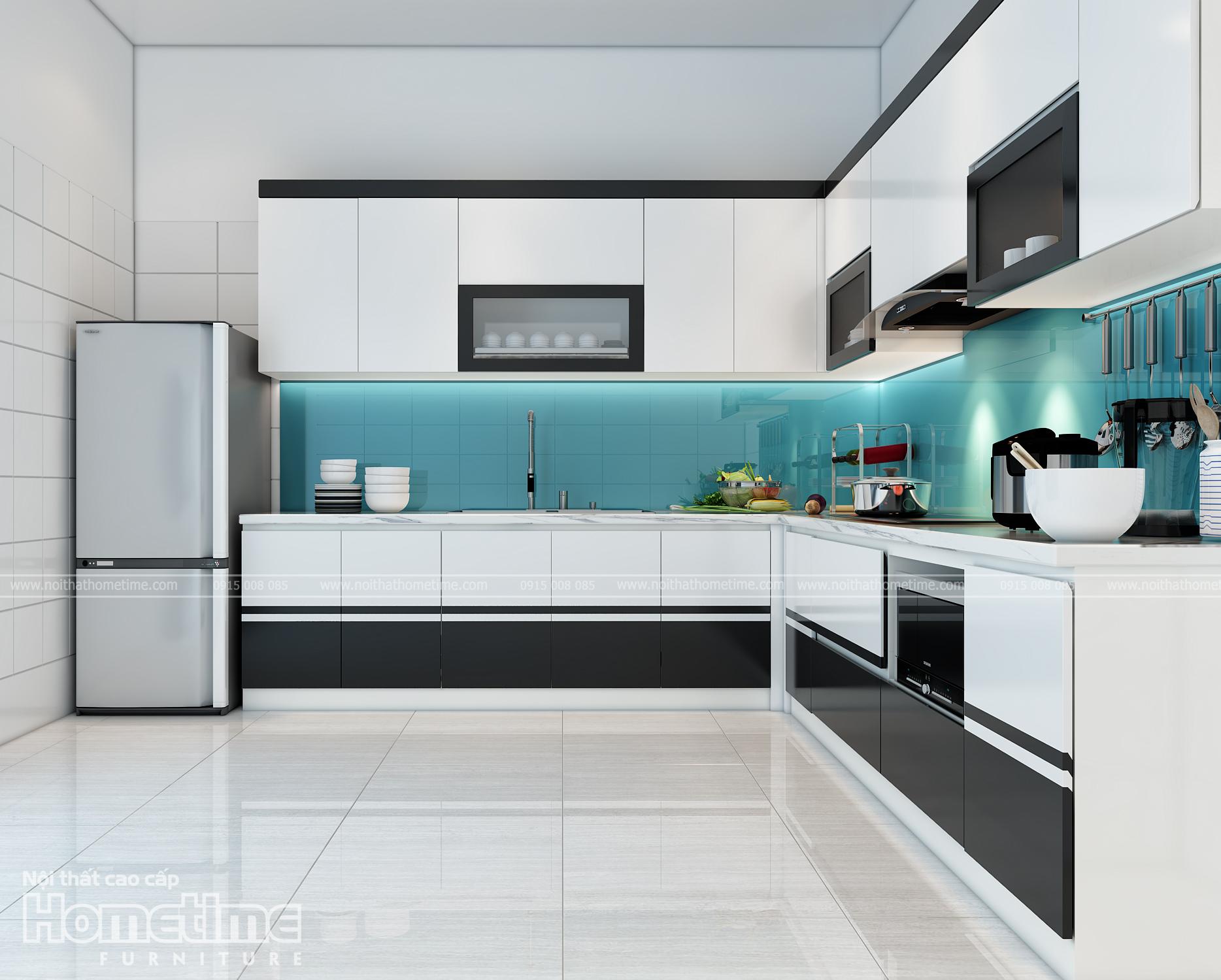 Hình ảnh tủ bếp đẹp hiện đại nhà chị Hà