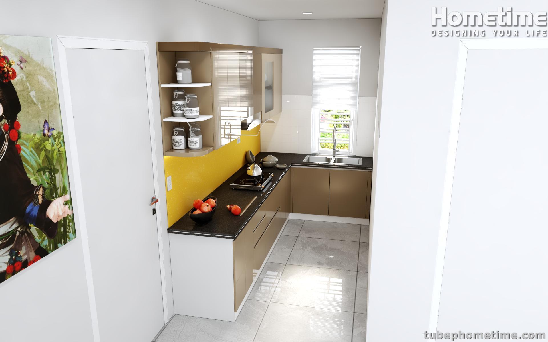 Hình ảnh góc nghiêng của tủ bếp