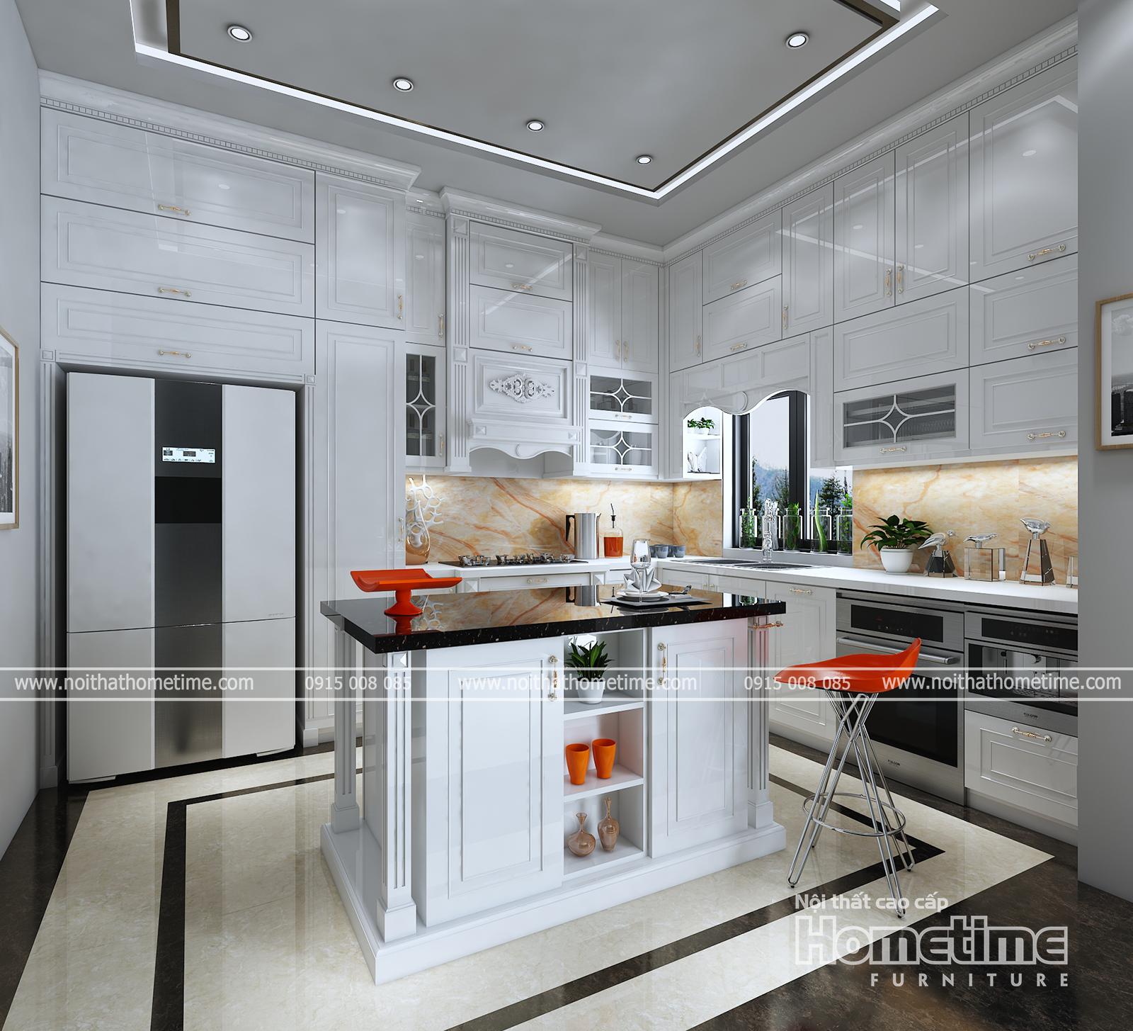 Hình ảnh tổng quan về tủ bếp tân cổ điển nhà chị Linh Hoàng Huy