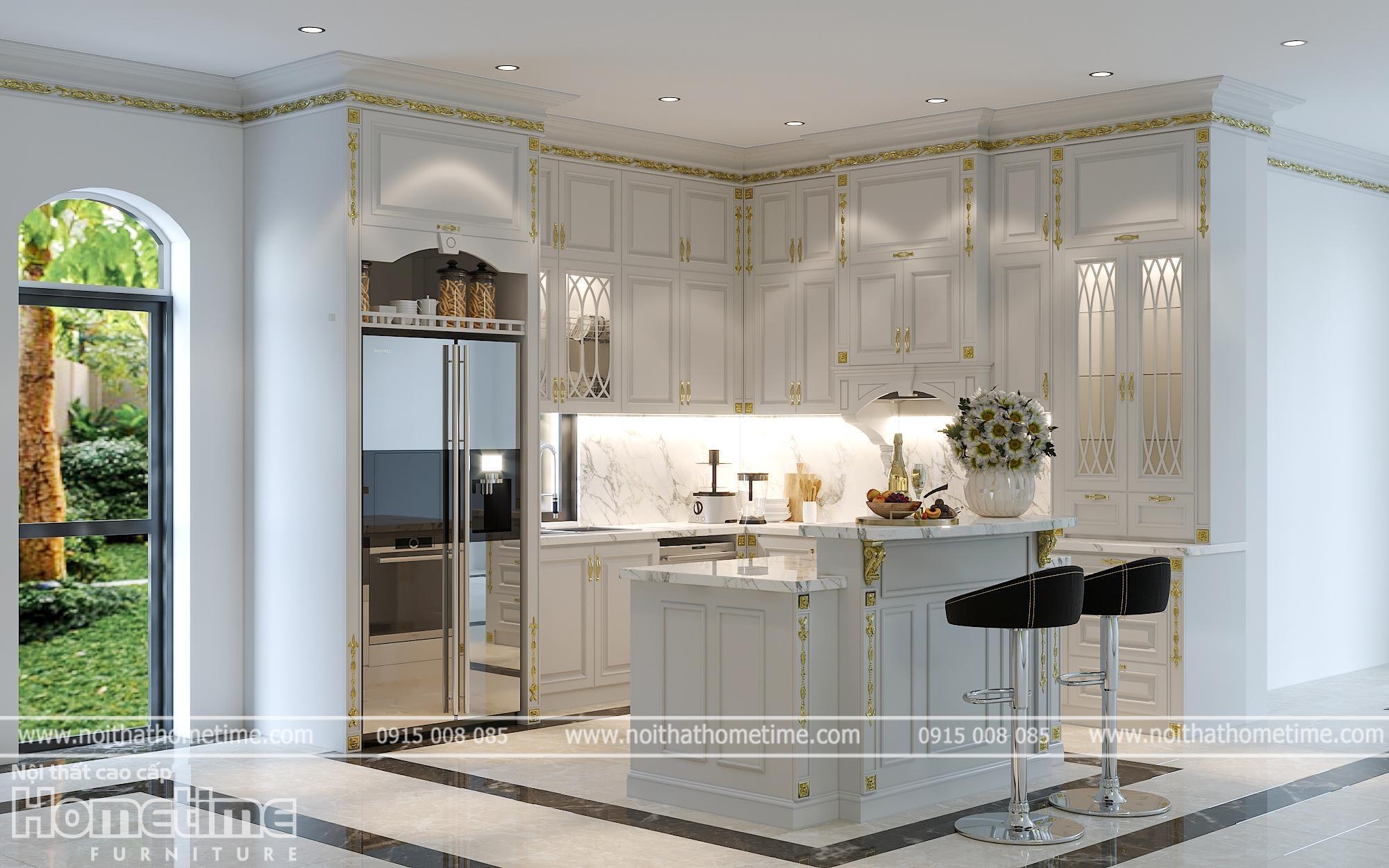 Thi công tủ bếp tân cổ điển màu trắng