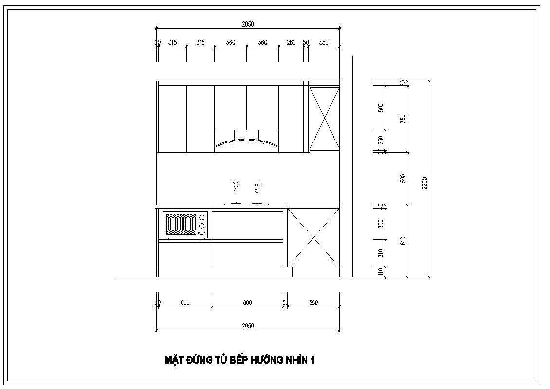 Mặt đứng tủ bếp nhà anh Huy – Khúc Thừa Dụ hướng nhìn một