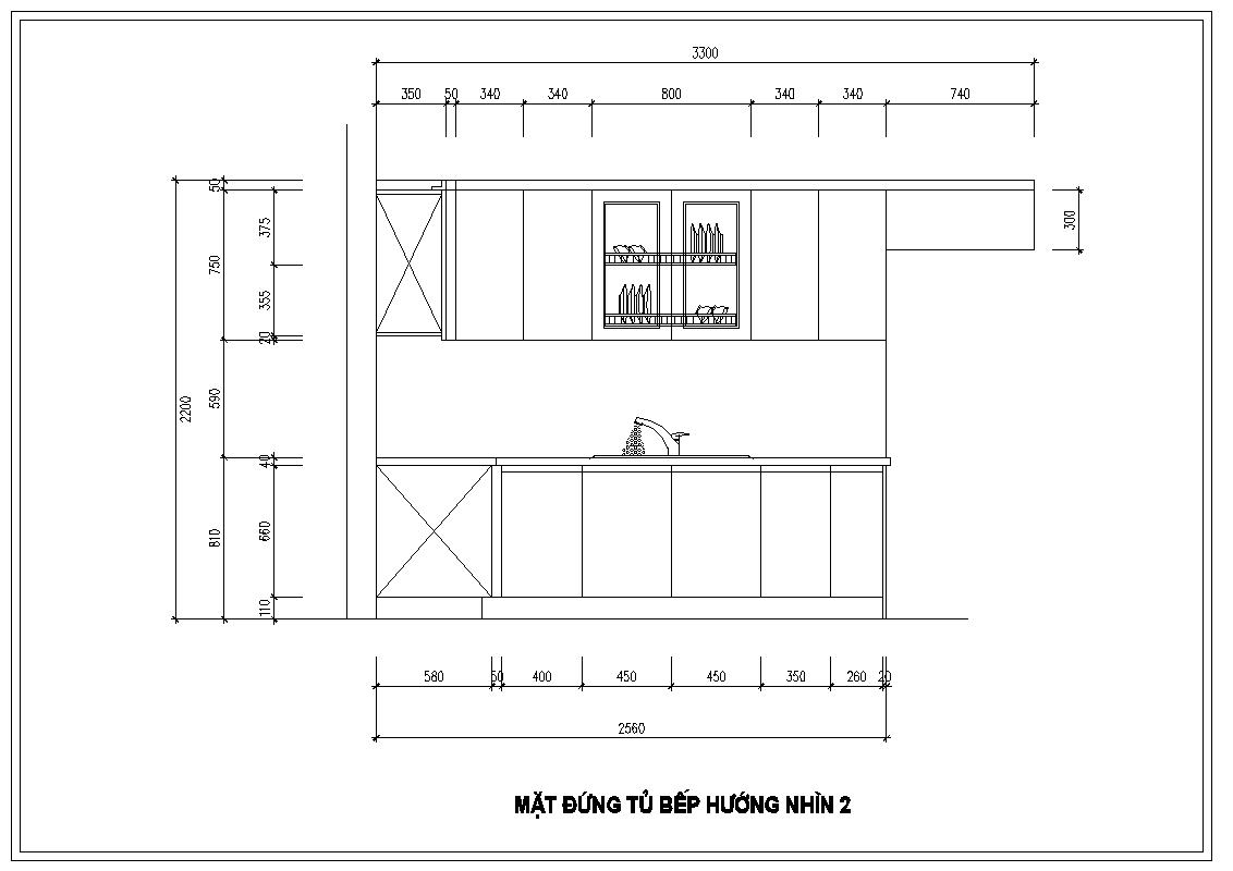 Mặt đứng tủ bếp nhà anh Huy – Khúc Thừa Dụ hướng nhìn hai