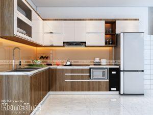 Thiết kế tủ bếp laminate hiện đại nhà anh Trung