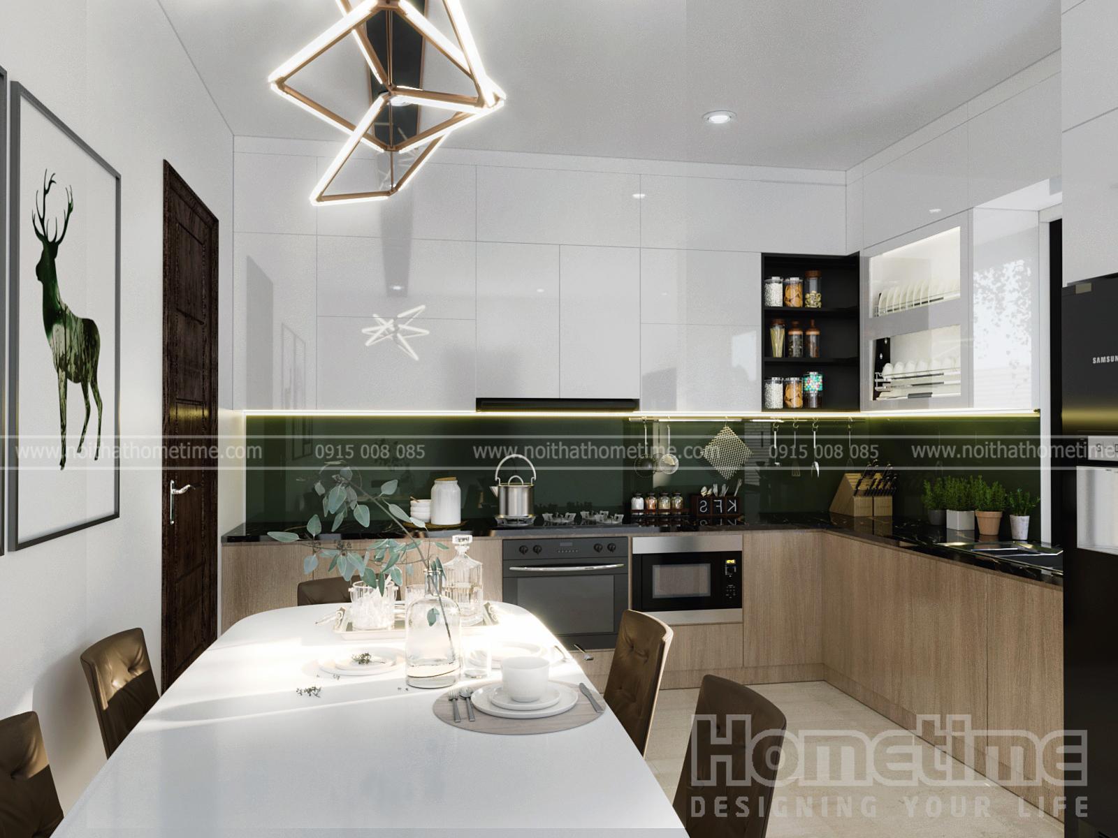 Hình ảnh tổng quan về tủ bếp Acrylic bóng tráng giương