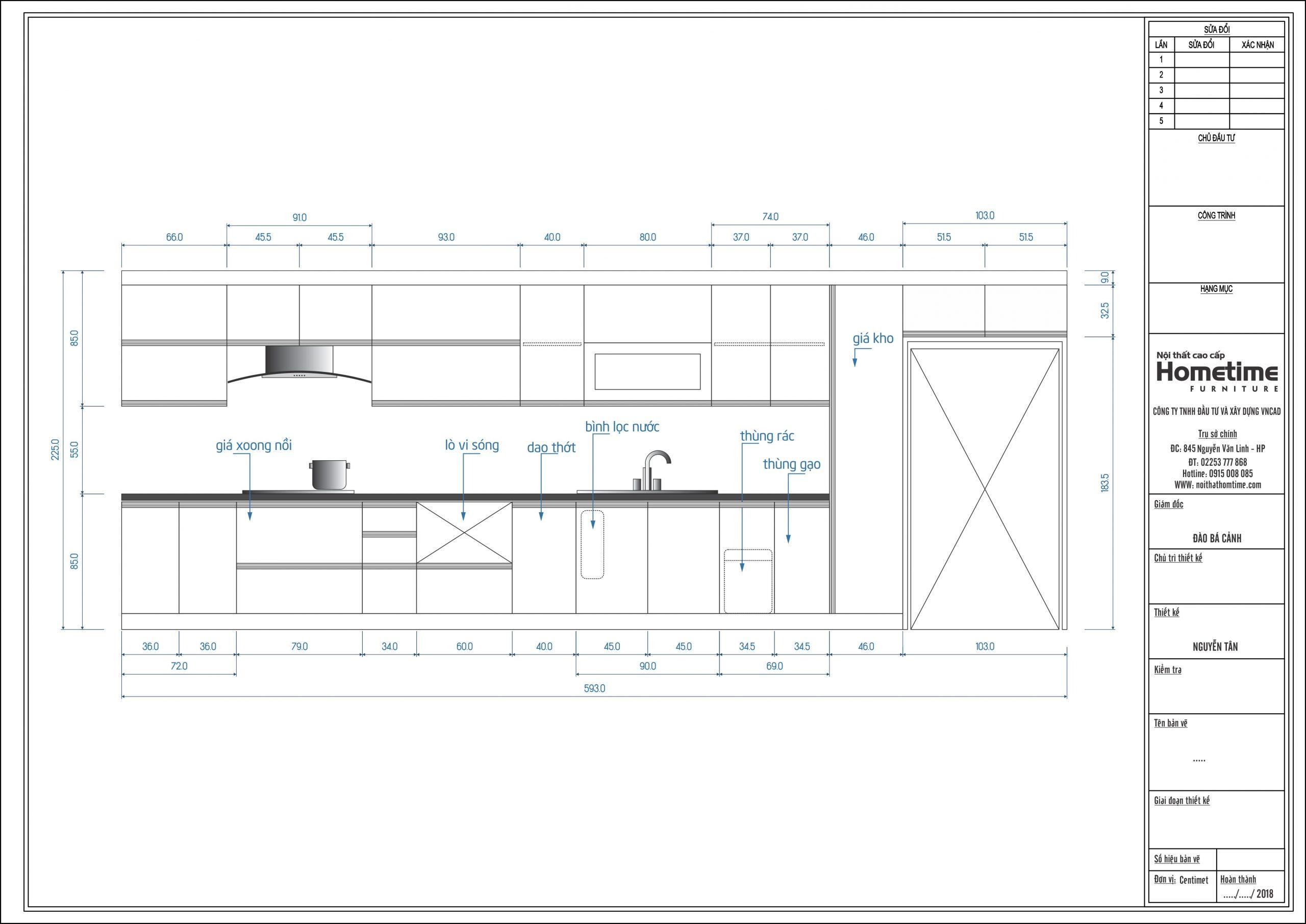 Chi tiết bản vẽ 2D tủ bếp nhà chị Huệ