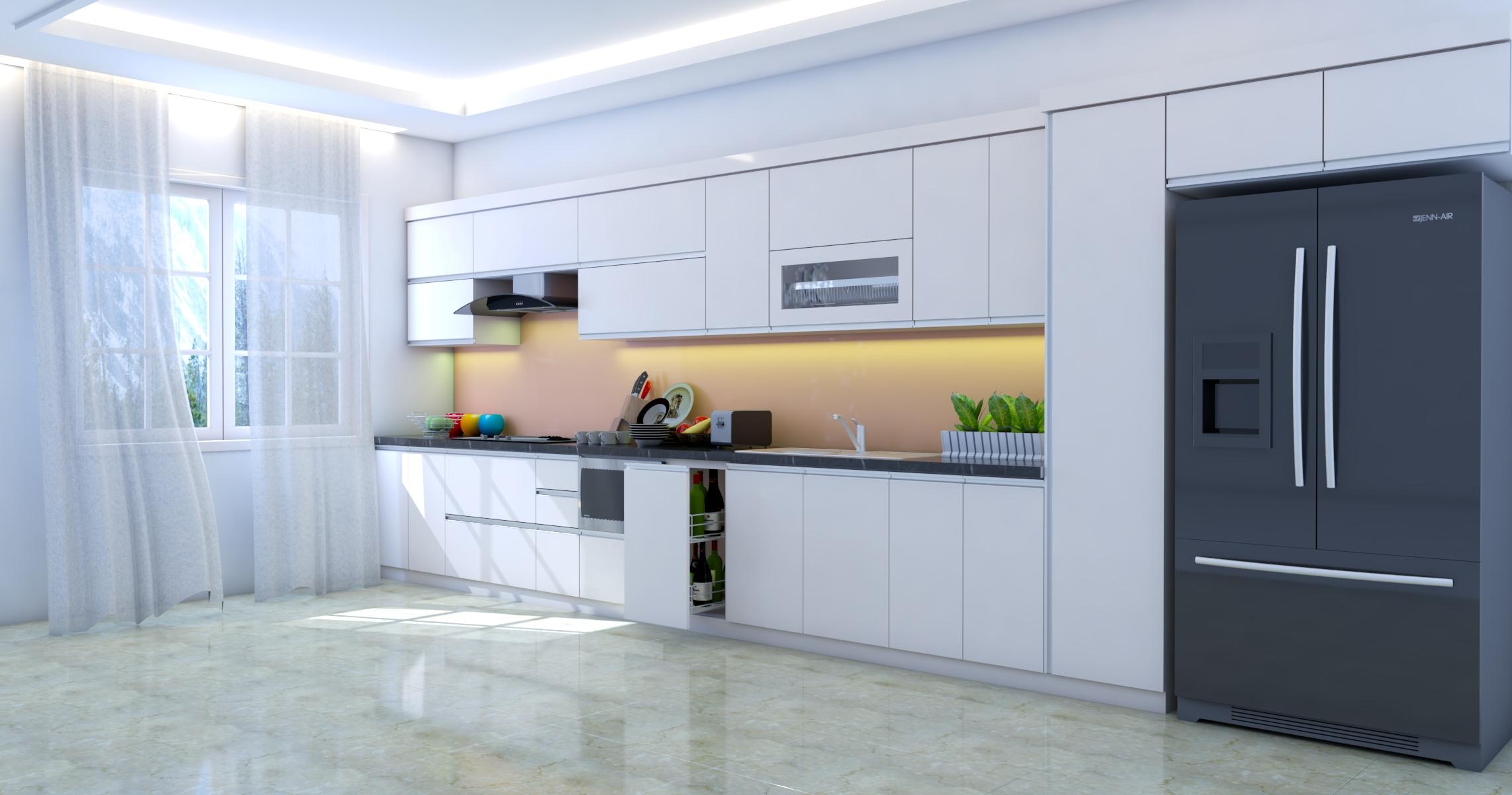 Tủ bếp chữ I nhỏ gọn tiện lợi phù hợp với nhiều không gian